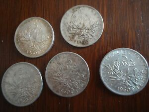 5 PIECES EN ARGENT 5 FRANCS SIGNE Roty 1960
