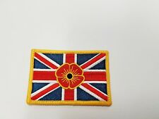 Union Flag UK Flag Forces Army RAF Navy Patriotic Poppy Iron On Patch