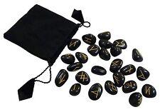 Runen Futhark schwarz Edelsteine Wahrsagen Orakel Runen Set Esoterik