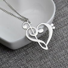 New Beauty Fashion Jewellery Heart Necklace Pendant Music Note 2 Colour Hot Sale
