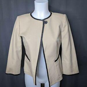 Anne Klein Womens Blazer Jacket Size 2 Tan Single Button Open Front Crop Career