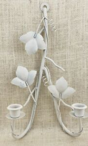 White Painted Metal Two (2) Tapered Candle Sconce Leaves and Vines