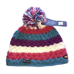 Everest Designs Malaki Beanie Wool Candy Pink NWT Striped Adult Size Pompom
