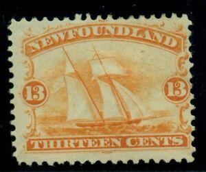 NEWFOUNDLAND #30 13c orange Fishing Ship, og, hinged, F/VF, Scott $250.00