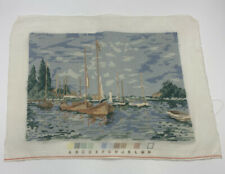 Vintage Finished Wool Needlepoint Picture Sailboats in Harbor Unframed