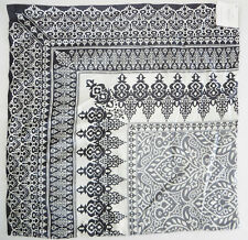 "Pottery Barn Nori Pillow Cover Scarf Print Silk Blend 20"" Gray White New"