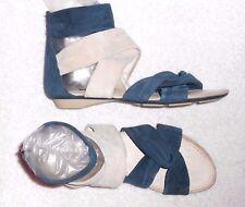 GÉOX sandales plates cuir daim bleu pétrole & beige P 38 TBE