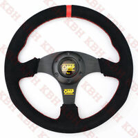 330mm Flat Racing Steering Wheel Black Suede Leather RED Stitch Fits OMP Hub NRG