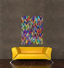POSTER PRINT GIANT PAINTING ABSTRACT ZIG ZAG PATTERN DESIGN COLOURFUL PAMP177