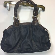 Lucky Brand Denim Jean Brown Leather Purse Satchel handbag