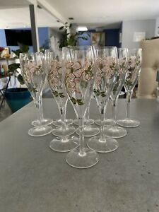 "SET 12 PERRIER JOUET 7.5"" Champagne Flutes Handpainted Glass Anemone Pink Flower"