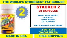 Stacker 2 20ct Capsules Weight Loss Energy Dietary Supple (Lot 2 X Bottles) = 40