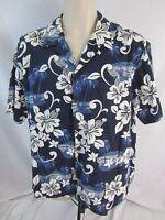 RJC Short Sleeve Hawaiian Shirt - Blue White - Men's XL - Made in Hawaii - 1052