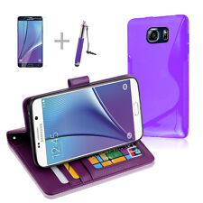 PURPLE Wallet 4in1 Accessory Bundle Kit S TPU Case Cover F Samsung Galaxy Note 5