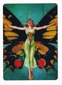 Art Deco  Butterfly Lady - Modern  Wide Linen  Swap Playing Card