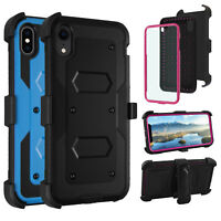 For iPhone Xs Max XR X Shockproof Case With Kickstand Belt Clip+Screen Protector