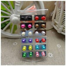 12 Pair New Women Color 8MM Pearl Round Ear Stud Earring Set Display Stand