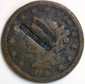 1838 Coronet Head Large Cent; Counterstamped J.L. LAW; No Reserve!