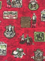 Vintage Early American History Motif FABRIC/DUPONT Savalux RED Multi Upholstery