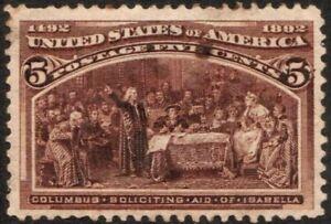 US Sc# 234 *MINT OG H* { -VF- CENTERED } STAINS 5c COLUMBIAN FROM 1893 CV$ 55.00