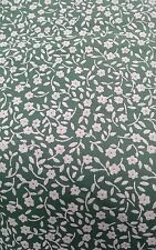 """VINTAGE GREEN SMALL OFF WHITE FLOWERS DRESS 100% cotton fabric 60"""" by the metre"""