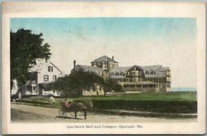 """1910s OGUNQUIT, Maine Postcard """"SPARHAWK'S HALL and Cottages"""" Hand-Colored"""