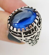 shia Ahlulbayt Sterling Silver Panjtan Islam Moslem Blu Zircon Men Woman's Ring