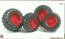 Bruder 1:16 accessories 4 Red wheels for tractors 02013 2013 NEW 02322