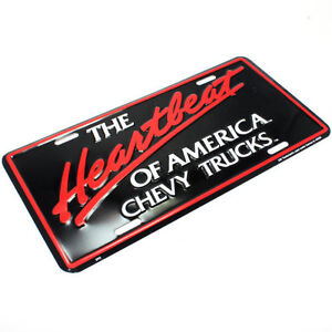 THE HEARTBEAT OF AMERICA CHEVY TRUCKS LICENSE PLATE ALUMINUM STAMPED METAL TAG