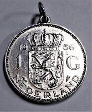 Niederlande - 1 Gulden 1956 SILBER - Königin Juliana - vz-st / xf-unc.+ Anhänger