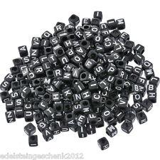 Sonderangebot 500 Schwarz Alphabete Buchstaben Acryl Würfel Perlen Beads 6x6mm