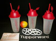 Tupperware 3 RED Quick Shake smoothie blender 16oz ~pancake batter pudding gravy