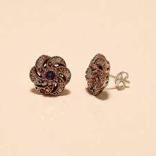 Natural Purple Zircon Earring Studs 925 Sterling Silver Turkish Two Tone Jewelry
