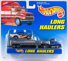 Hot Wheels Long Haulers Flatbed Transport Truck With Blue Chevy New On Card 1997