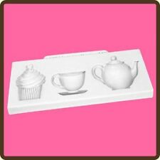 AFTERNOON TEA SILICONE MOULD FOR CAKE TOPPERS, CHOCOLATE, CLAY ETC