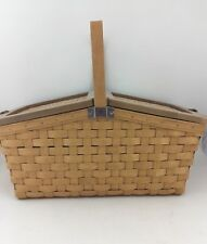 Longaberger 2007 Warm Brown Hostess Family Picnic Basket w Protector Lid