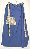 Vintage Long Half Apron Blue Floral Pocket Shabby Chic Hippie Handmade