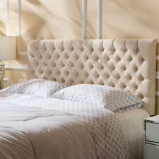 Fabric Beige Upholstered Headboard Queen/Full Diamond Button Tufted Bedroom