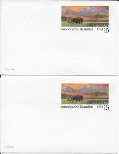 15 CENT--AMERICA THE BEAUTIFUL--BUFFALO-- BLANK POSTCARD--SET OF 2 - 1988 USPS