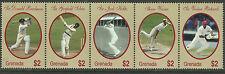 GRENADA 2000 WISDEN CRICKETERS OF CENTURY Warne Bradman Sobers STRIP 5v MNH