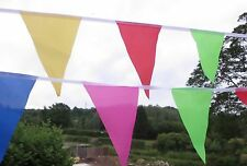 Carnival bunting large bright multi-coloured triangular fabric 36ft/11m 40 Flags
