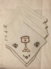 SET Of 7 Vintage Handmade Crossstitch Cloth Napkins White Brown Grail Wine Lot