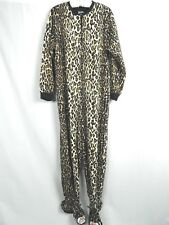 Nick & Nora Animal Print One Piece Footed Fleece Pajama XL Cheetah Leopard Cat