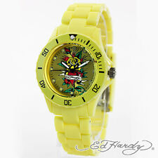 Ed Hardy VP2-YL Collection Signature Tattoo Dial Yellow Luminous Unisex Watch