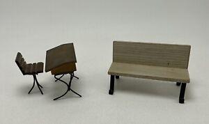 Miniature Dollhouse Furniture 1:12 Antique Style School Desk & Bench Wood Metal