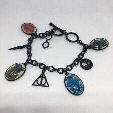 Harry Potter Black Charm Bracelet Coat of Arms Toggle Clasp