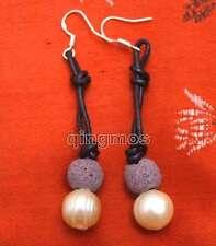 Big 10-11mm Pink Potato Natural FW Pearl Dangle Leather earring &purple Lava-429