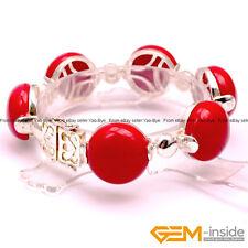 "18mm Coin Gemstone Tibetan Silver Jewelry Bracelet 7"" Fashion Jewelry Gift"