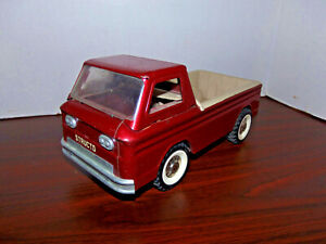 Vintage 1960s Structo Red Chevy Corvair Ramp Side Pickup Truck Pressed Steel Toy