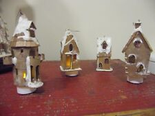 Vintage 70s 80s Iced Faux Gingerbread Houses Christmas Tree Hanging Decoration